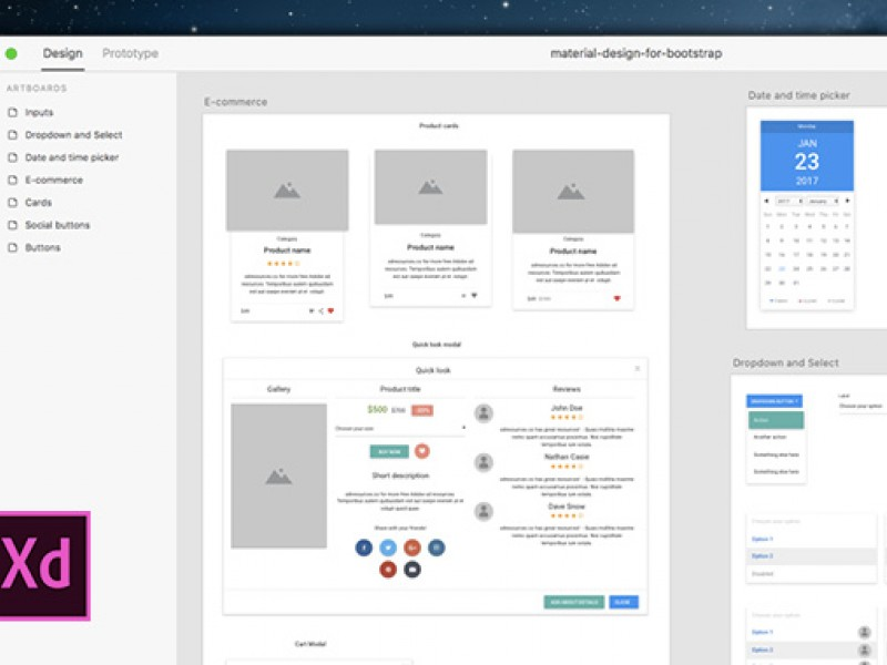 Material Bootstrap Ui Xd Resources